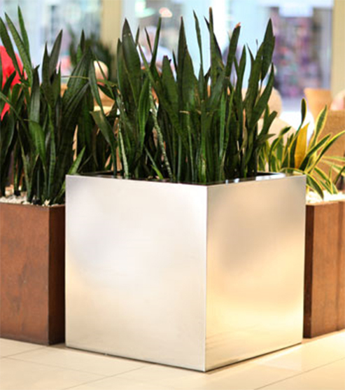 FO-9004 Stainless Steel Cube Planter